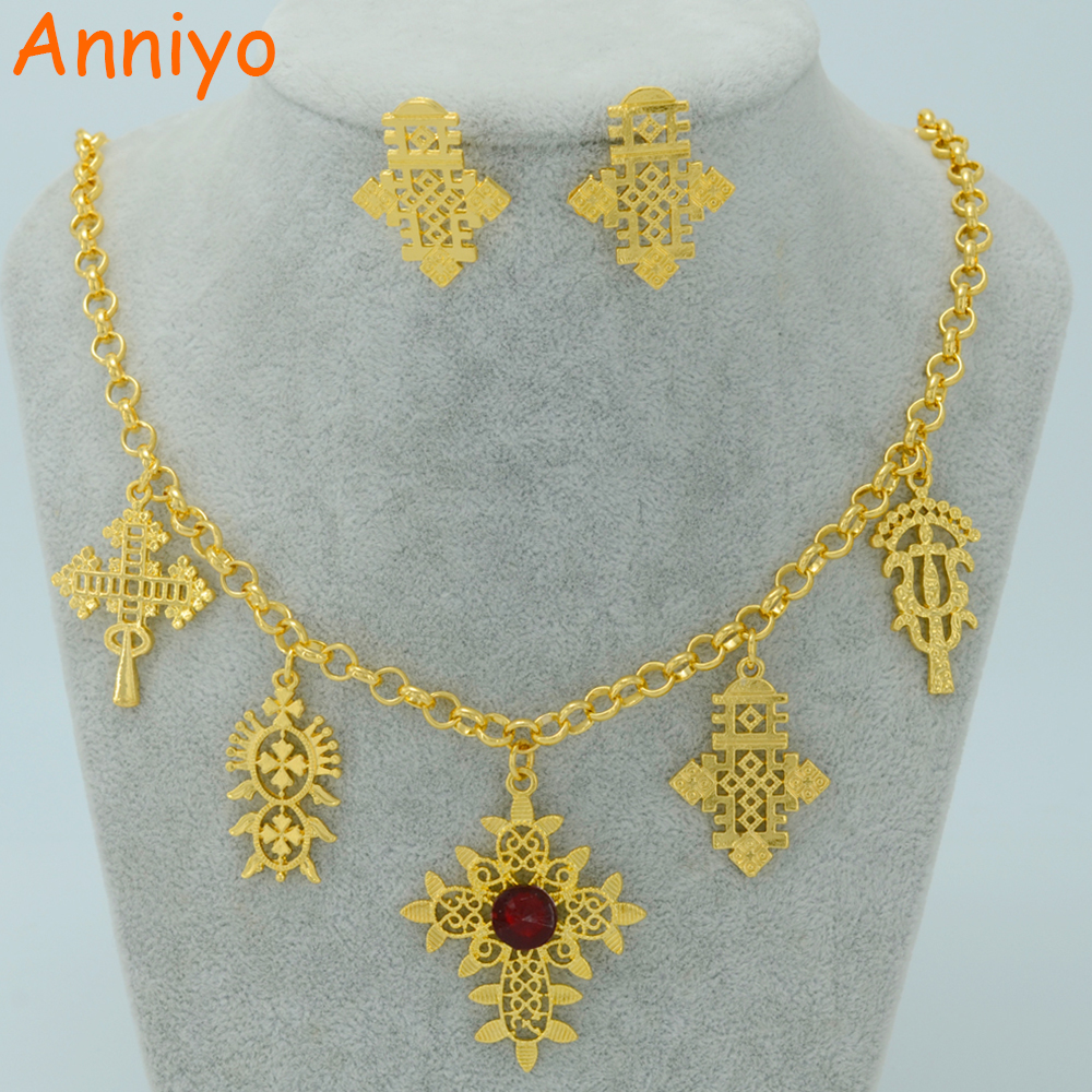 Anniyo 50CM Necklace Ethiopian Traditional Festivals Jewelry Set Gold Color Eritrea Cross Orthodox Tewahedo Church #007306