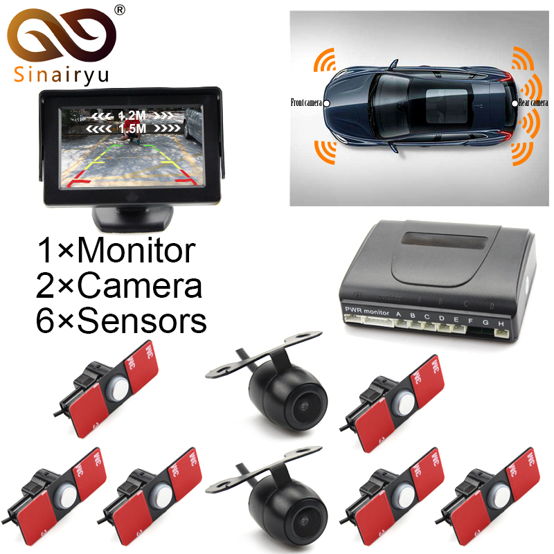 Sinairyu 3in1 16MM Original Flat Sensor Car Front Rear 6 Sensors Video Radar Parking Sensor + 5 Car Monitor with 2 Camera автоинструменты new design autocom cdp 2014 2 3in1 led ds150