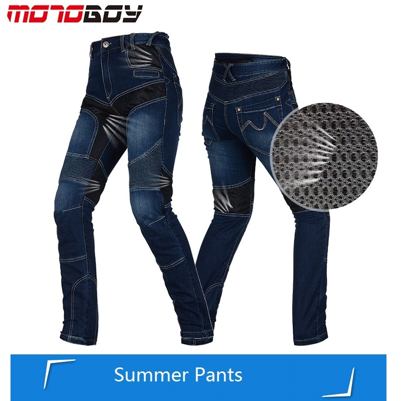 MOTOBOY Vintage Summer Motorcycle Trousers Men Racing Moto Sports Pants Equipamento de Motocross Motorcycle Jeans