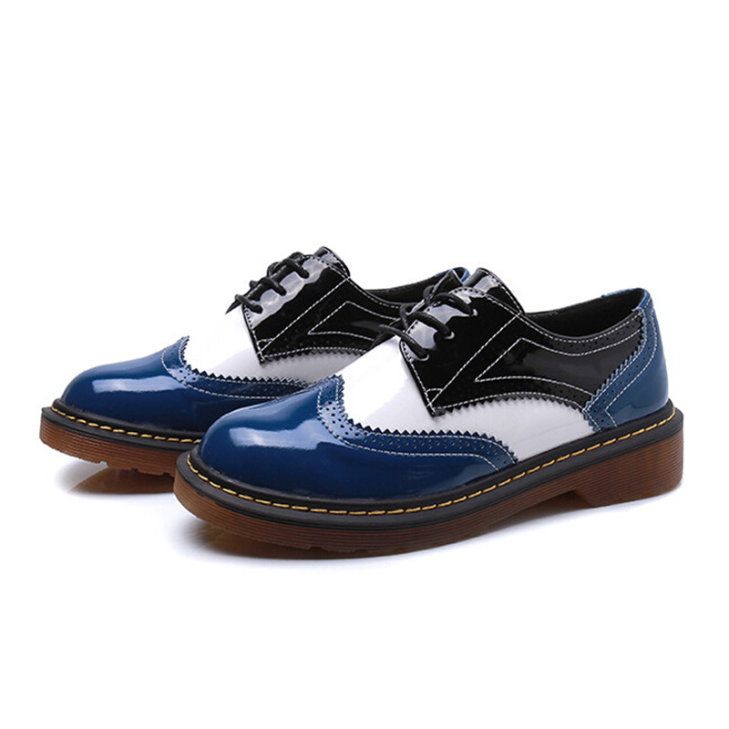 Angleterre Cheville Automne Style Oxford Chaussures Dames Bleu Femmes Chaussure 2017 rouge Femmer Derby Bottes Appartements Vintage Rond Bout gPCqqUB