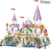 Princess Happy Warm Pink Castle Cute Action Figures 731Pcs Compatible Legoings Friends Designer Doll For Girl Birthday Gift
