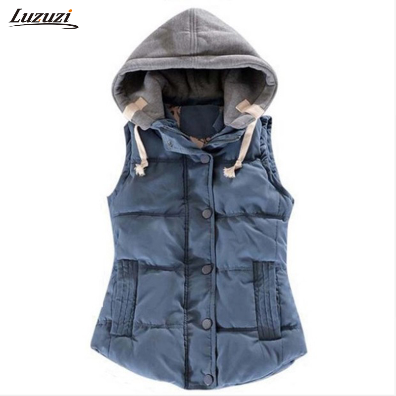 1PC Hooded Vest Women Autumn Winter Cotton Padded Colete Feminino Veste Femme Gilet Waistcoat 8 Colors