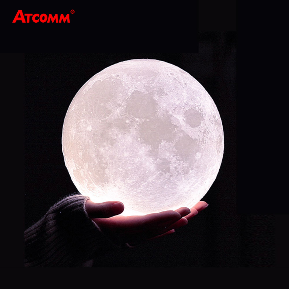 3D Print Moon LED Table Lamps USB Chaged Touch/Remote Control LED Night Light 10 Levels Dimmable With 24 Key RGBW Controller(China)
