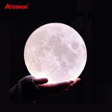 Lampe LED imprimée lune en 3D, veilleuse de Table, tactile, télécommande, USB, 10 niveaux de luminosité réglables, avec 24 touches, contrôleur RGBW