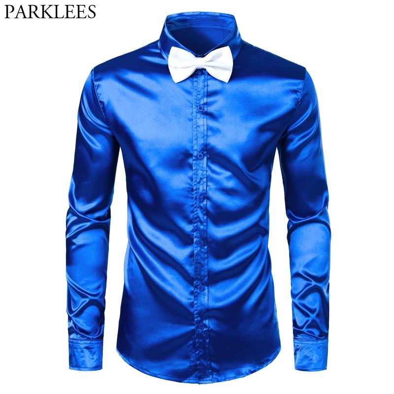 Men's Royal Blue Silk Satin Dress Shirts With White Bowtie 2019 New Slim Fit Long Sleeve Men Tuxedo Shirt For Party Wedding 3XL