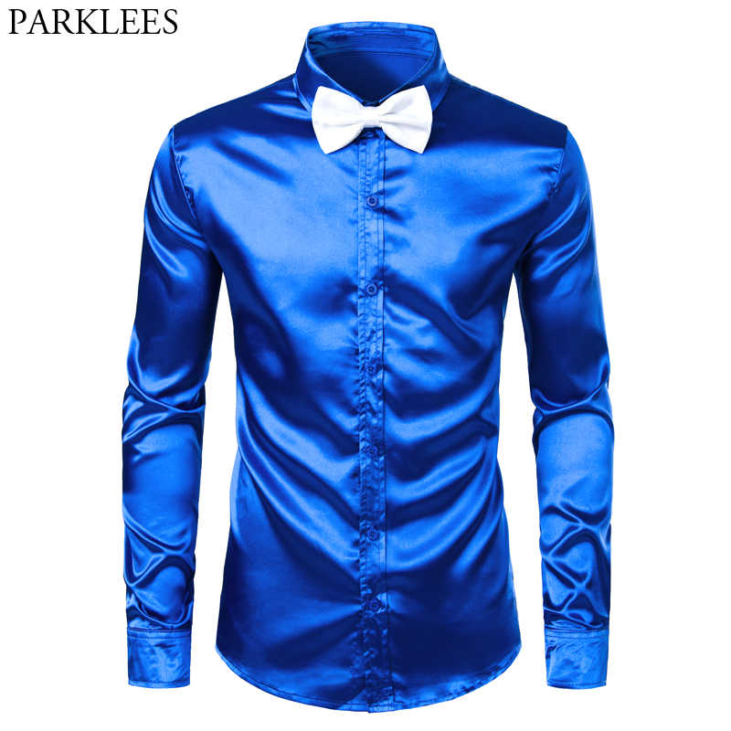 Men's Royal Blue Silk Satin Dress Shirts with White Bowtie 2019 New Slim Fit Long Sleeve Men Tuxedo Shirt for Party Wedding 3XL