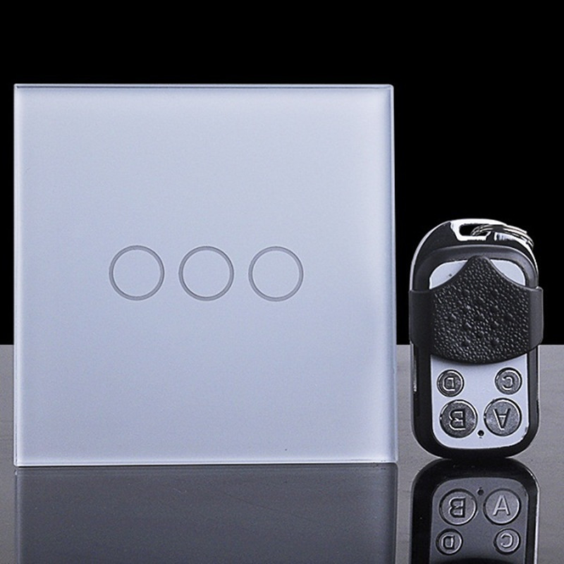 EU/UK touch switch remote control wall lamp switch 3 Gang 1 way crystal glass single fire line touch sensor wall switch y603 eu type sesoo touch remote switch 3 gang 1 way crystal glass switch panel single firewire touch sense wall switch rf433 control