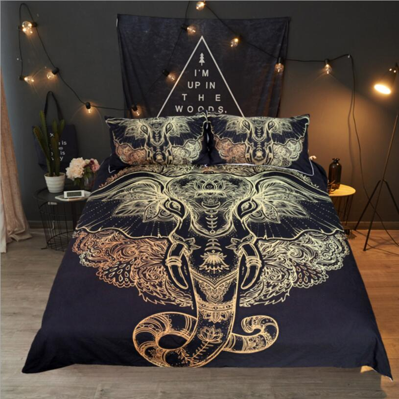 NEW African Tribal Elephant Bedding Set Boho Mandala Golden Design Ethnic Indian God Ganesha Duvet Cover