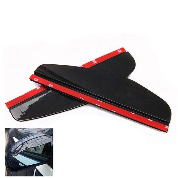 Universal Flexible PVC Car Rear-view Mirror Rain Shade Rainproof Blades Car Back Mirror Eyebrow Rain Cover, Black