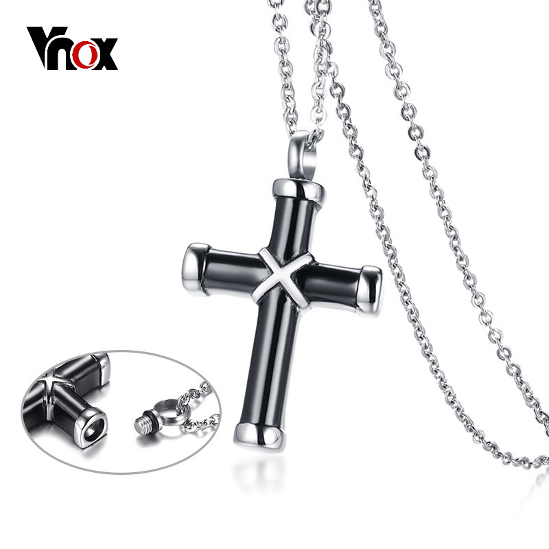 Vnox Hollow Cross Pendant For Men Women Necklace Memorial Cremation Urn Stainless Steel Stylish Unisex Jewelry Memory Cat Pet stylish 7 hollow stereo circles pendant necklace
