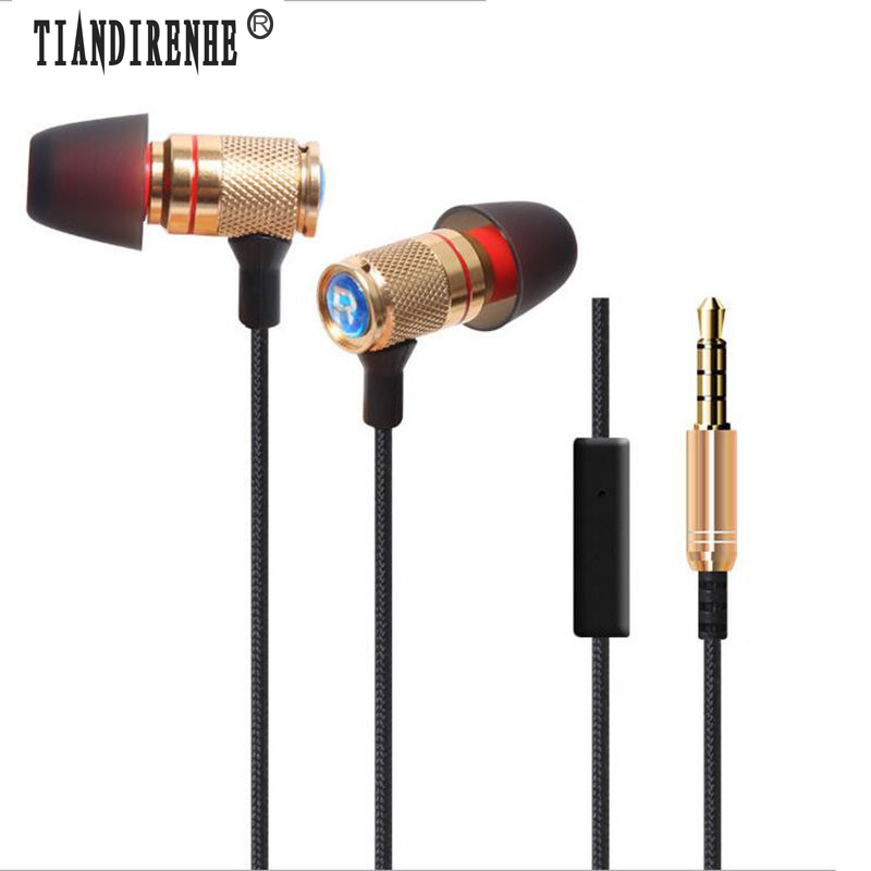 Tiandirenhe 3.5mm Headset Earphone fone de ouvid Stereo Bass Sport Metal Case with Mic for iPhone Samsung xiaomi Huawei MP3 MP4  new products picun c6 stereo headphones earphone with mic best bass foldable headset for iphone 6s pc mp4 xiaomi huawei meizu