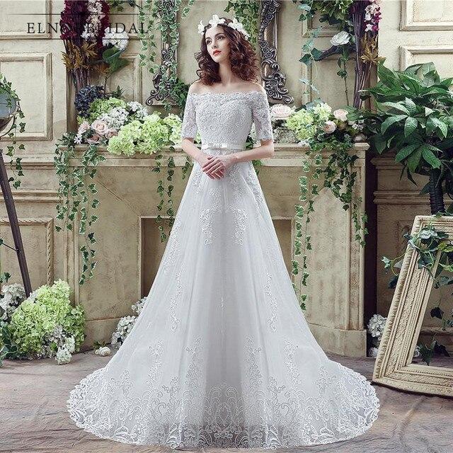 Modest Encaje Vestidos de novia 2018 casamento fuera del hombro ...