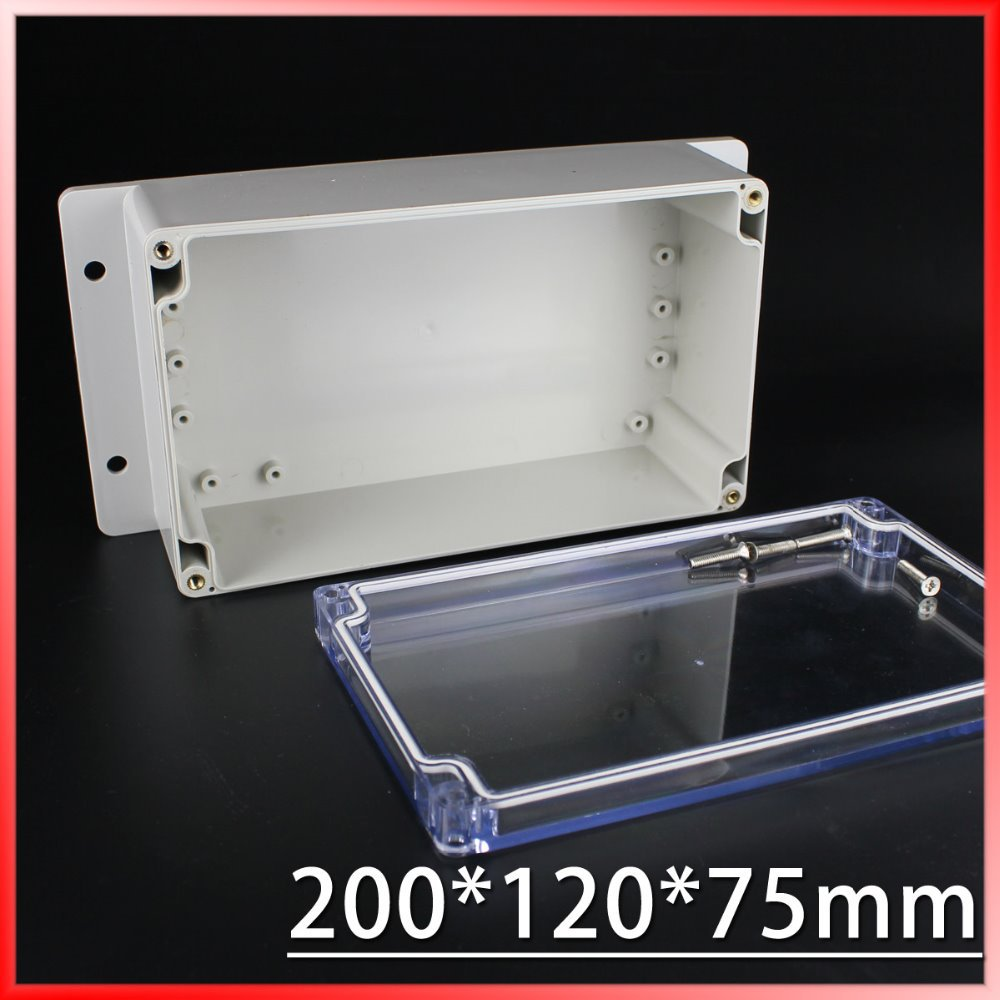 (1 piece/lot) 200*120*75mm Clear ABS Plastic IP65 Waterproof Enclosure PVC Junction Box Electronic Project Instrument Case 65 95 55mm waterproof case
