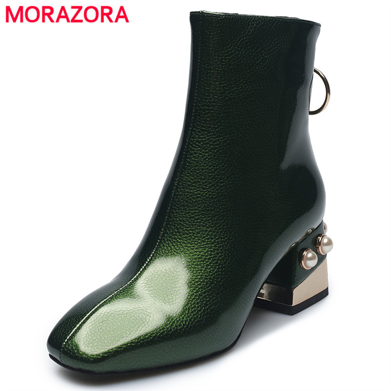 MORAZORA 2018 New Microfiber patent leather ankle boots for women square toe high heels autumn winter boots female footwear facndinll print snake microfiber leather ankle boots for women pointed toe footwear high heels female party winter boots women