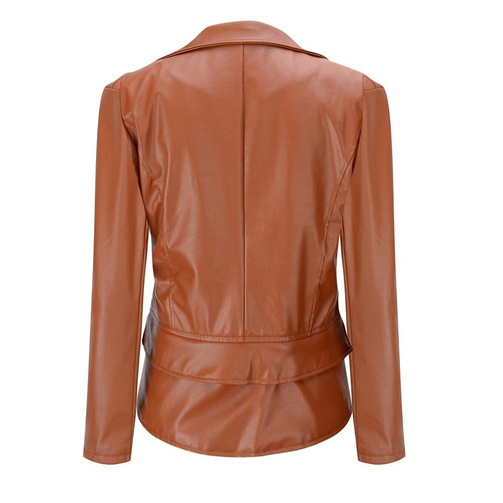 New Autumn And Winter PU Leather Motorcycle Zipper Jackets 2020 Women Long Sleeves Lower Edge Detachable Punk Basic Street Coat