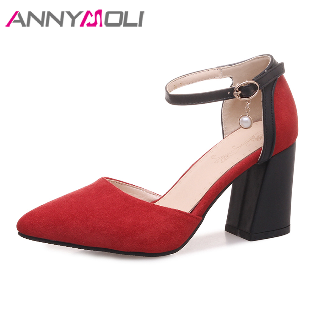ANNYMOLI High Heels Women Shoes Buckle Square High Heels Wedding Shoes Pointed Toe Ankle Strap Pumps Female Red Plus Size 3-12