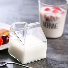 Clear American Half Pint Creamer Milk Mugs Carton Glass Cup Coffee Juice Unique Design Pure Handmade Crafts Cups