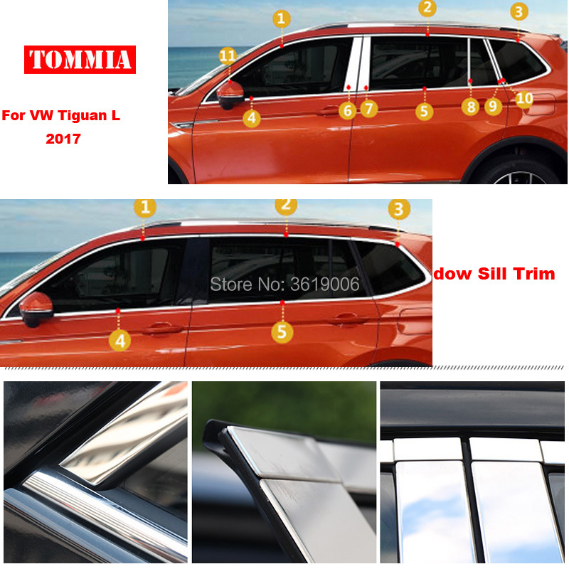 TOMMIA Full Window Middle Pillar Molding Sill Trim Chromium Styling Strips Stainless Steel For Volkswagen Tiguan L 2017 for renault koleos 2008 2012 stainless steel complete window sill belt trim windows molding trims glass strips car styling