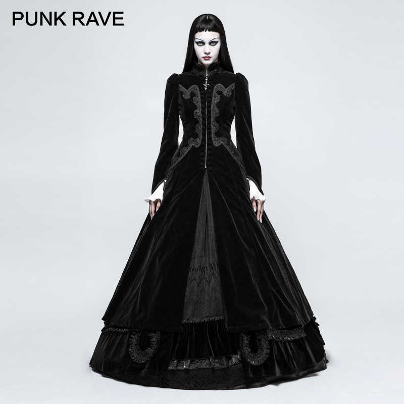 ab76e96bbfbfa PUNK RAVE Gothic Palace Swallow Tail Embroidery Velveteen Long Wool Blends  Coats Vintage Pattern Party Halloween