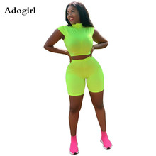 Adogirl Fluorescent Color 2 Piece Set Women Tracksuit Sleeveless T Shirt Crop Top Shorts Female Summer Age Reduction Outfits