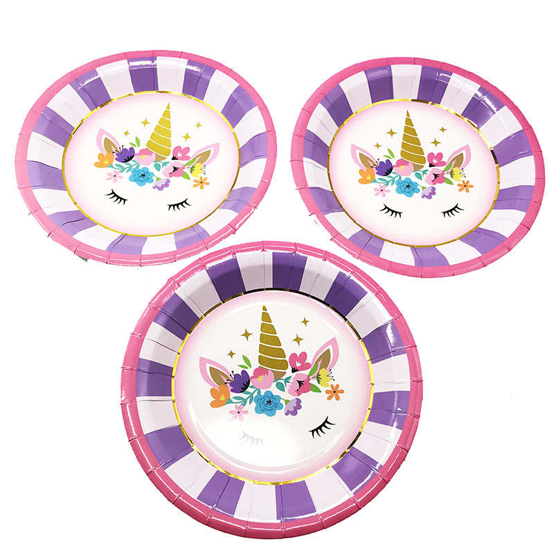 10pcslot 9inches 300g paper plates pink Unicorn theme birthday party decorations Pink Unicorn disposable dishes