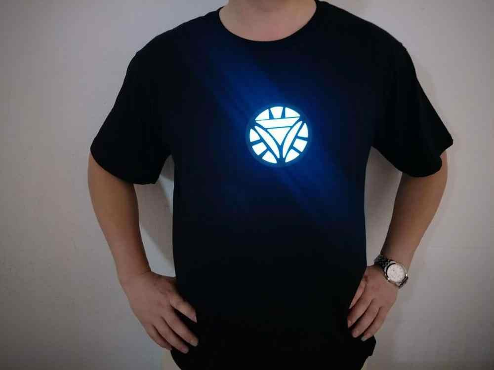 T-shirts led luz o-pescoço de manga curta camiseta 2019 homem de ferro reator de arco tony stark avengers thor hulk led ativado por som