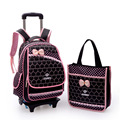 Niños de la escuela carro bolsas de impresión mochila niñas mochila escolar mochilas kids ruedas rolling back pack bolso ruedas 2 sets