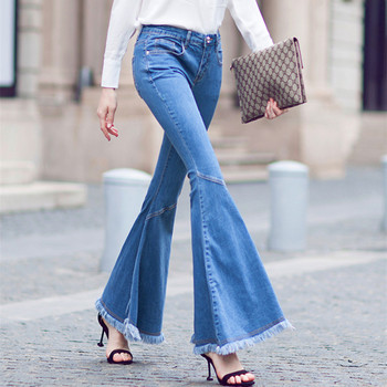 Free Shipping 2020 Stretch Fashion Long Jeans Pants For Women Flare Trousers Plus Size 25-30 Denim Summer Tassel Jeans With Slit цена 2017