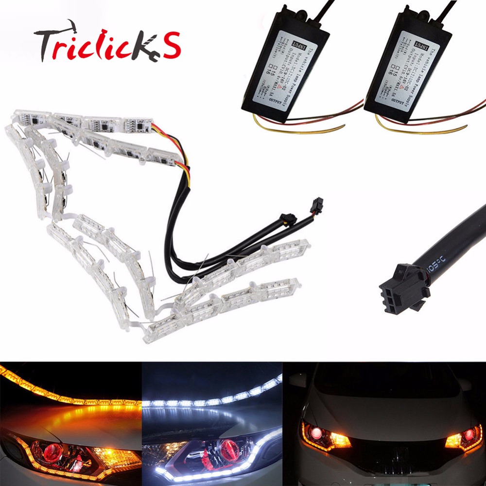 Triclicks 10W Epistar Car Flexible Switchback LED Knight Rider Strip Light Headlight Sequential Flasher DRL Flowing Amber/White