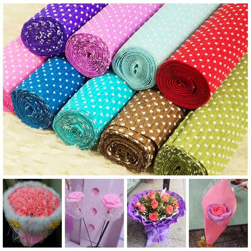 1Pcs 50*250cm White Spots Crepe Streamers Paper Coloful Tissue Wrinkles Paper For Wedding Party Decoration DIY Flower Wrapping