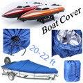 Barco Cobrir NOVO Heavy Duty Pesca Runboat TAMPA DO Barco de Esqui 20-22 Pés 100 polegadas Feixe V-Casco Kit Azul à prova d' água À Prova D' Água
