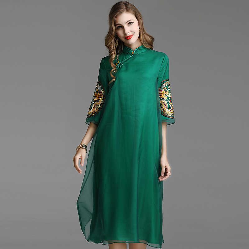 Embro moulin printemps et été broderie Dragon cheongsam en vrac rétro femmes robe style chinois élégant dame robe de soirée S-XXL