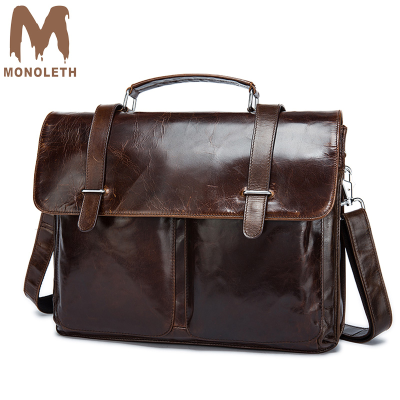 MONOLETH Vintage Genuine Leather Messenger Bag men Crossbody Single Shoulder Bag For Men Rugged Portfolio Cover Closure Bag 8814 magnetic closure animal dolls pompon crossbody bag