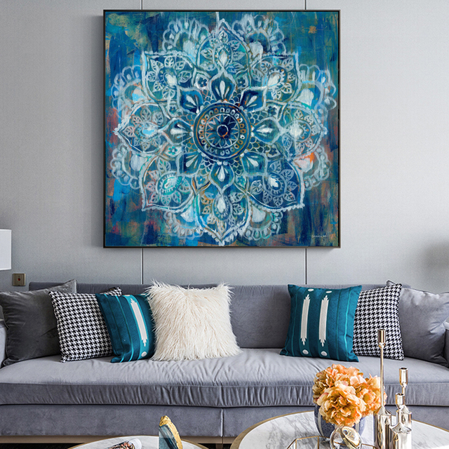 Abstract Mandala Flower Wall Posters And Prints Large Size Bright Color Modern Flower Canvas Painting Cuadro Pictures Home Decor