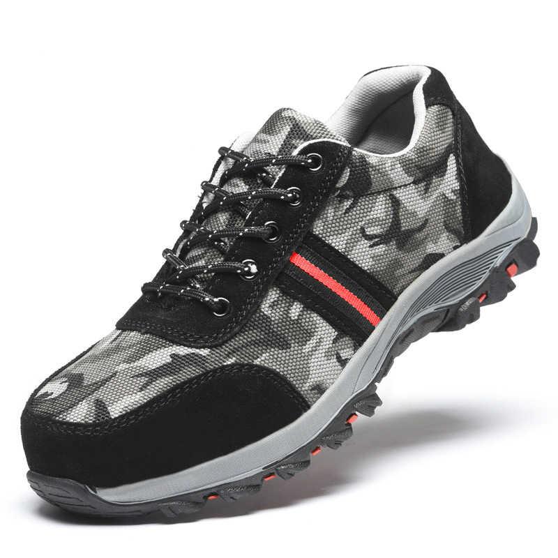 Yeni varış erkekler rahat büyük boy nefes çelik ayakkabı burnu iş güvenliği ayakkabıları şantiye işçi ayakkabı güvenlik botları adam