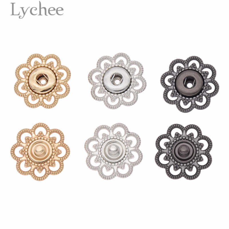 Lychee Life 10pcs Hollow Flower Shaped Metal Snap Buttons Gold Color Silver Color Button DIY Sewing Accessories For Clothes
