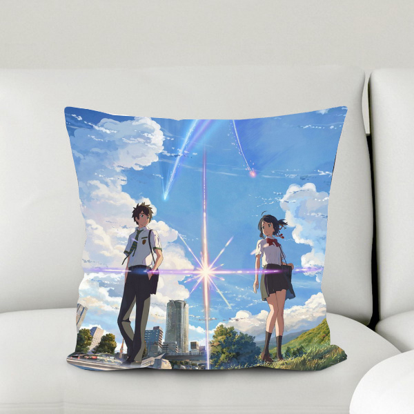Oct. Home Textile Micro-suede Fabric One-sided Two-sided Pillow Case Japanese animated movie Your Name Taki & Mitsuha #41054A image