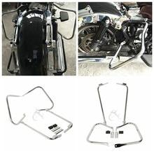 купить Chrome Black Saddlebag Guard Bracket Set For Harley Touring Electra Glide Classic FLHTC  97-08 Road Glide FLTR 98-08 по цене 6076.92 рублей