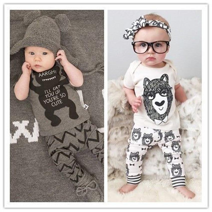 NO-32 Ny sommar Baby flickor kläder set, kort T-shirt + byxor Lilla - Babykläder