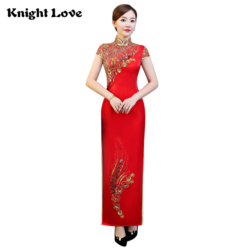 Red Lace Qipao Chinese Traditional Dress Long Evening Dresses Vestidos Cheongsam Embroidery Lady Chinese Wedding Dress S 4XL