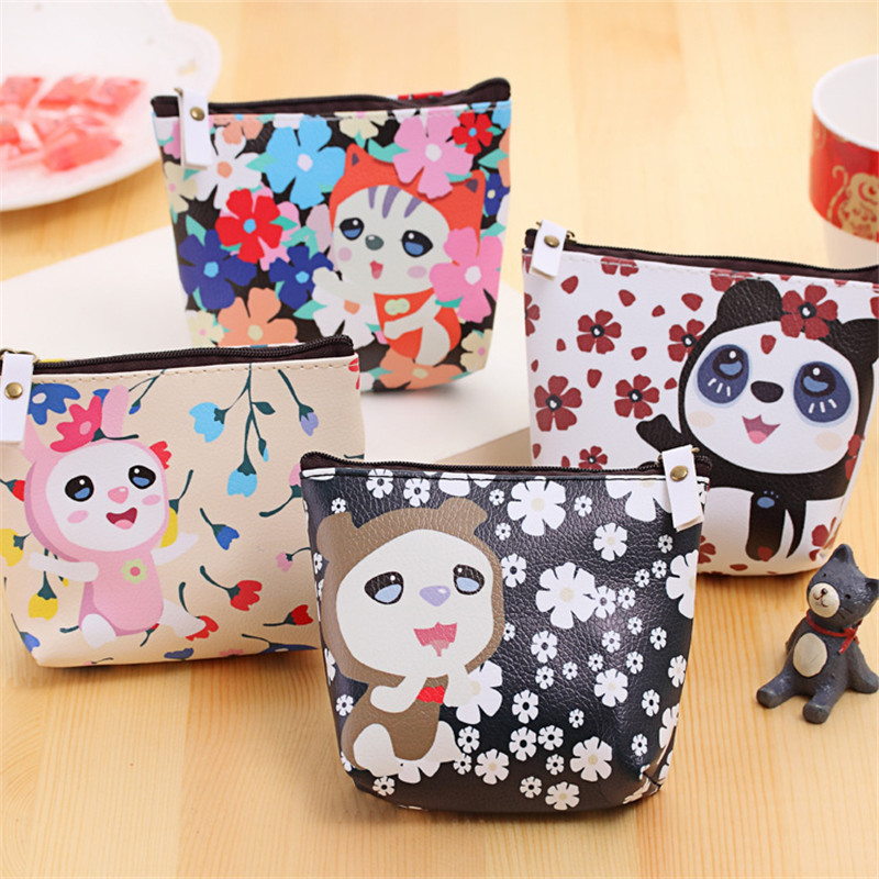 Coin Purses Child Kawaii Cartoon Animal Women Mini Coin Bag Change Purse Pouch Key Holder Wallets For Children Boys Girls Gift 2016 coin bag creative flower women coin purses fresh syle key wallets canvas girls child gift wallets small purse b0234