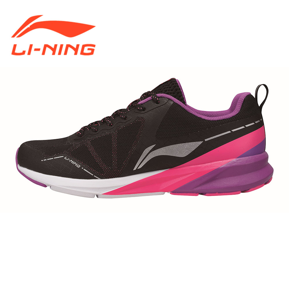 ФОТО Li-Ning Brand Women Sneakers Cushion Running Shoes Cushioning Professional Breathable-Black+Red ARHM036 LiNing