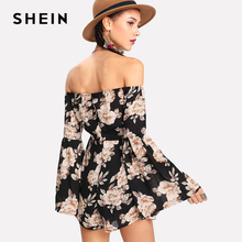 SHEIN Summer Ladies Long Sleeve High Waist Jumpsuit Eyelet Lace Up Off Shoulder Floral Romper Womens  Flounce Sleeve Jumpsuits