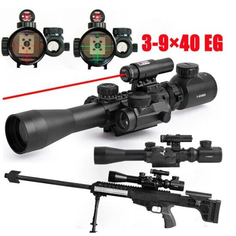 Taktiska riflescopes 3-9x40EG dubbelbelysning med rött punkt infrarött rifleområde med rödpunktsljus