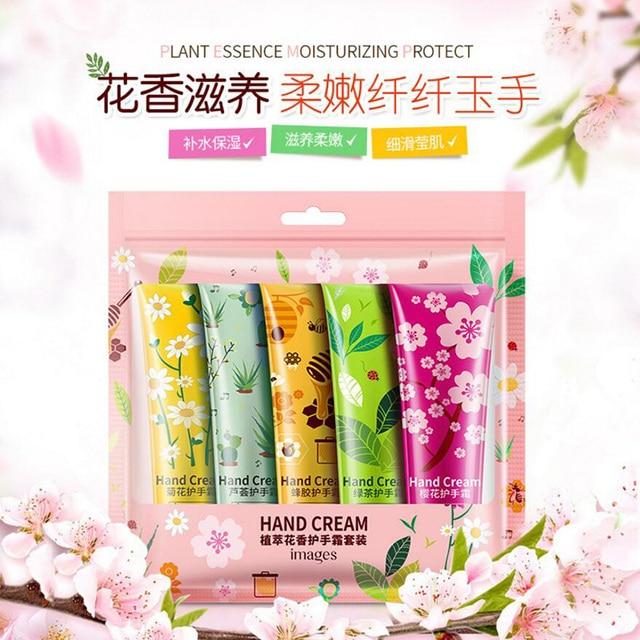 Plants Hand Cream Set 5pcs Aloe Green Tea Propolis Moisturizing Hand Cream Nourishing Anti Chapping Oil Control Hand Care 1