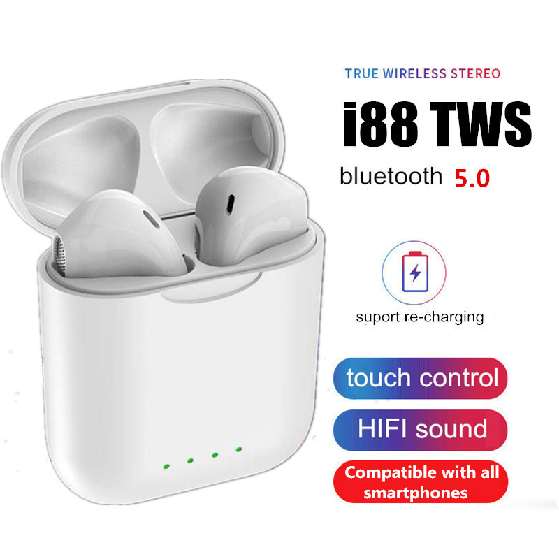 2019 I88 Tws 1:1 Bluetooth 5.0 Earphone Wireless Headphone Touch Control Super 3d Surround Sound For All Smartphone Pk I10 I12