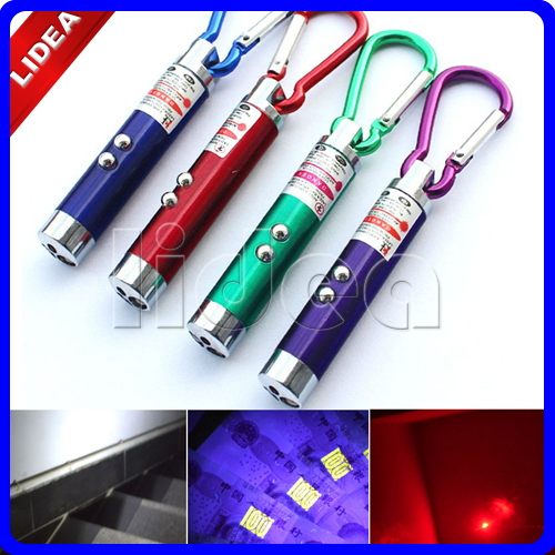 Fashion 3 in 1 Outdoor Aluminum Carabiner Keychain Keyring Laser Pointer Beam UV Infrared Mini Torch LED Flashlight EMS HW-50
