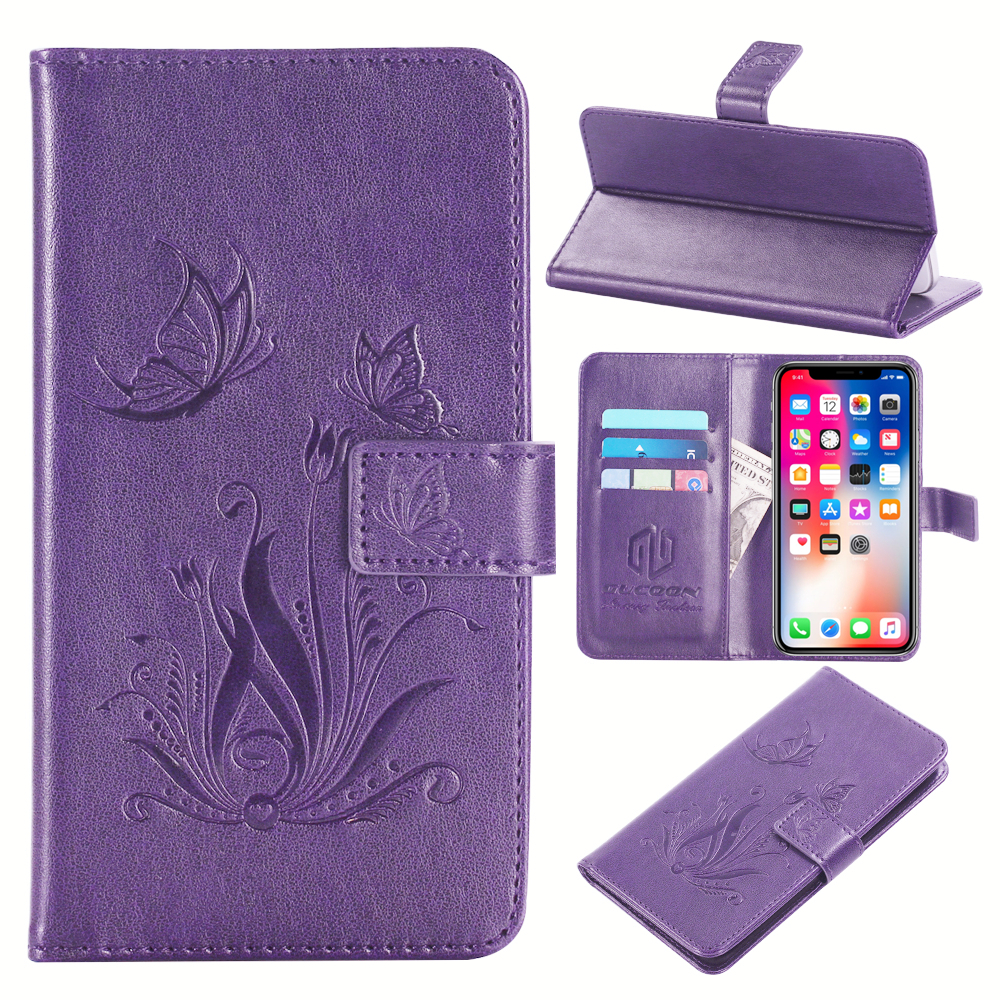 GUCOON Embossed PU Leather Case for FLY IQ4406 ERA Nano 6 4.5inch Eiffel Tower Flowers Butterfly Flip Wallet Cover