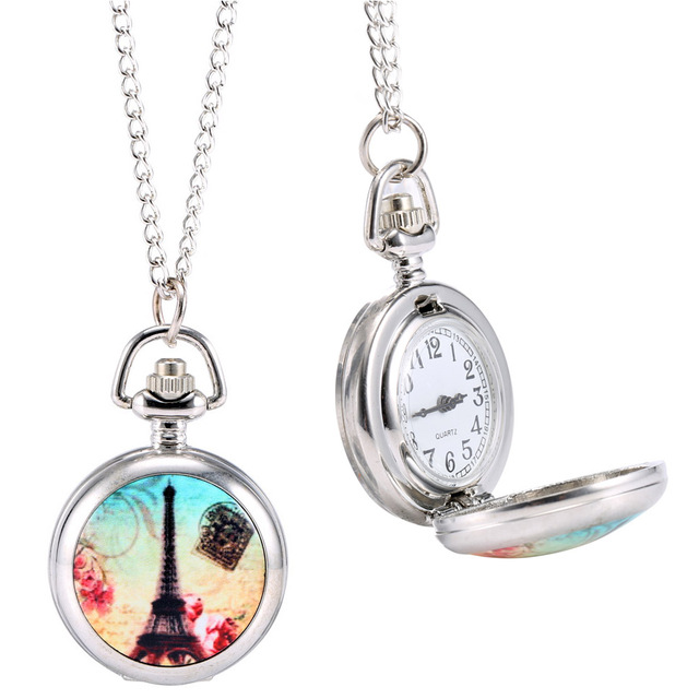 Fashion Vintage Quartz Pocket Watch Colorful Tower Pattern Retro Sweater Chain N