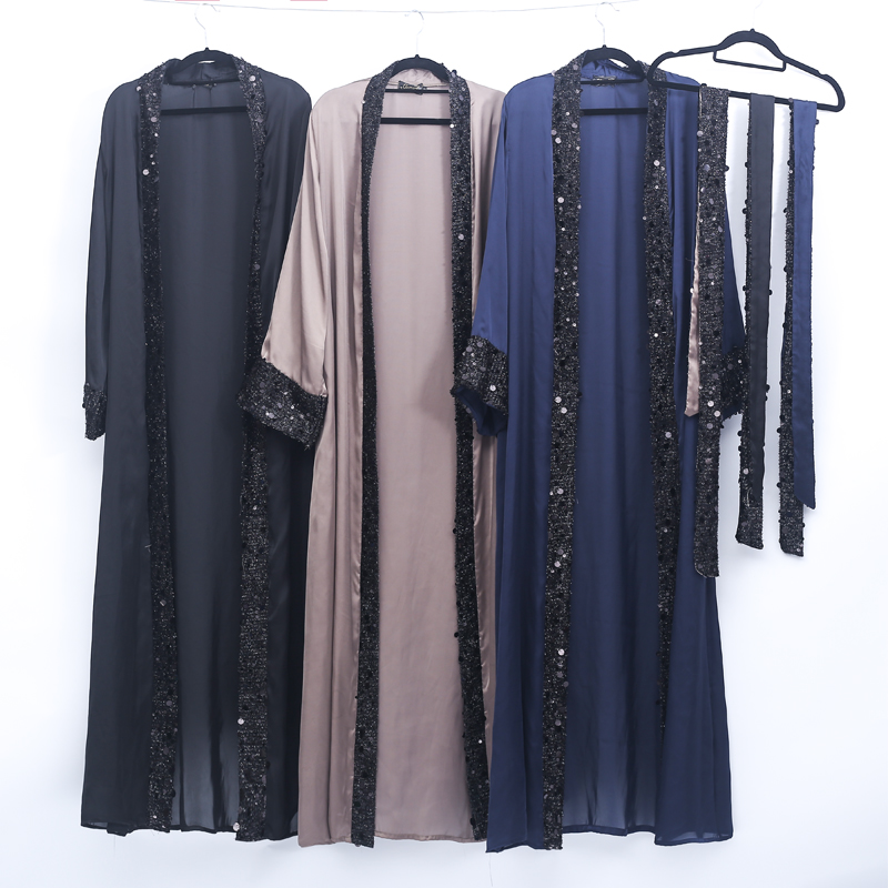 Sequin Abaya Turkish Kimono Dubai Kaftan Muslim Hijab Dress Abayas For Women Caftan Islamic Clothing Robe Femme Prayer Clothes